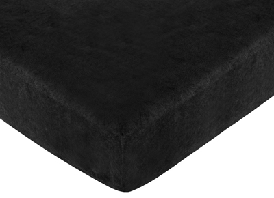Fitted Crib Sheet for Black Minky Dot Baby/Toddler Bedding by Sweet Jojo Designs - Black Microsuede - Click to enlarge