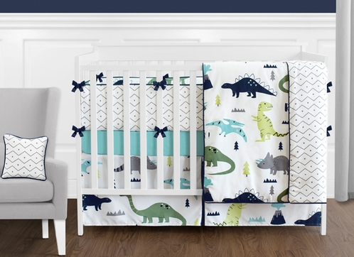 Blue and Green Mod Dinosaur - 9 Piece Baby Boy or Girl Bedding Crib Set - Click to enlarge