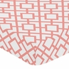 Fitted Crib Sheet for Coral and White Diamond Baby/Toddler Bedding by Sweet Jojo Designs - Diamond Print