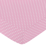 Fitted Crib Sheet for Skylar Baby/Toddler Bedding by Sweet Jojo Designs - Pink Polka Dot
