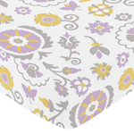 Fitted Crib Sheet for Suzanna Baby/Toddler Bedding by Sweet Jojo Designs - Floral Print