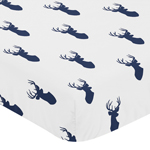 Fitted Crib Sheet for Woodland Deer Baby/Toddler Bedding by Sweet Jojo Designs - Deer Print