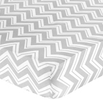 Fitted Crib Sheet for Yellow and Gray Chevron Zig Zag Baby/Toddler Bedding by Sweet Jojo Designs - Chevron Zig Zag Print