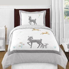 Forest Deer and Dandelion 4pc Twin Bedding Set by Sweet Jojo Designs