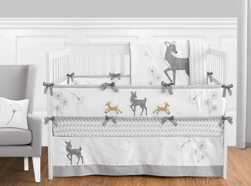 Forest Deer and Dandelion Baby Bedding - 9pc Crib Set by Sweet Jojo Designs - Click to enlarge
