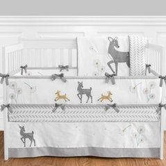 Forest Deer and Dandelion Baby Bedding - 9pc Crib Set by Sweet Jojo Designs