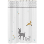 Forest Deer and Dandelion Kids Bathroom Fabric Bath Shower Curtain