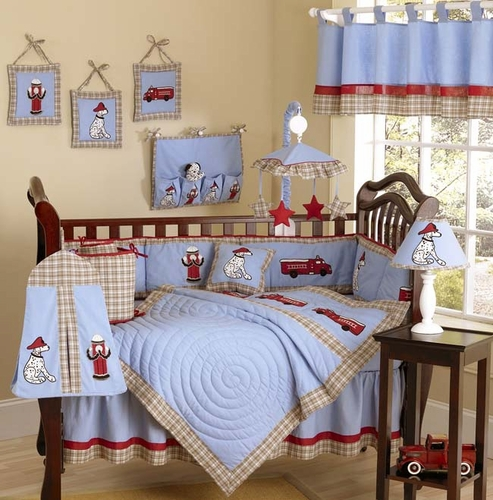 Frankie's Fire Truck Baby Bedding - 9 pc Crib Set - Click to enlarge