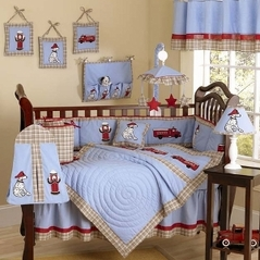 Frankie's Fire Truck Baby Bedding - 9 pc Crib Set