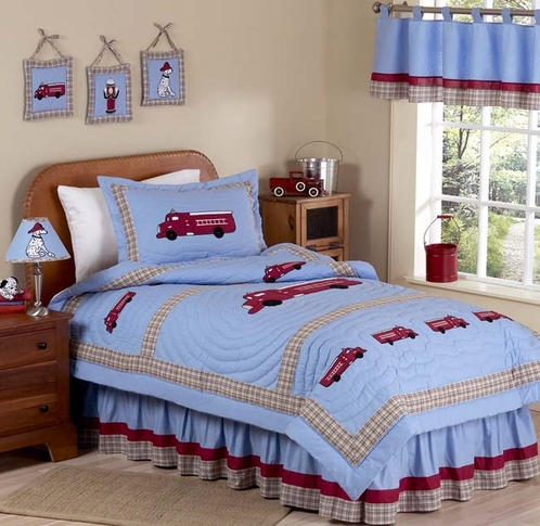 Frankie's Fire Truck Childrens Bedding - 3pc Full / Queen Set - Click to enlarge