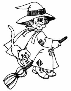 Friendly Witch and Kitten on Broomstick