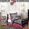 Funky Zebra and Hot Pink Toddler Bedding - 5pc Set