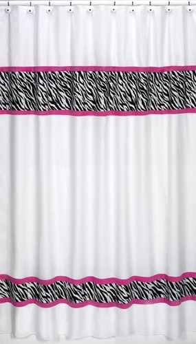 Funky Zebra Kids Bathroom Fabric Bath Shower Curtain - Click to enlarge