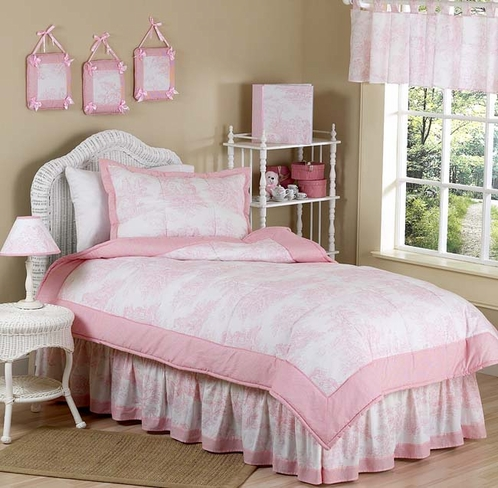 Pink French Toile Teen Bedding - 3pc Full / Queen Set - Click to enlarge