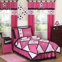 Girls Soccer Childrens Bedding - 3 pc Full / Queen Set
