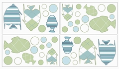 Go Fish Baby and Childrens Ocean Wall Decal Stickers - Set of 4 Sheets