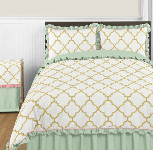 Gold, Mint, Coral and White Ava 3pc Full / Queen Girl Teen Bedding Set - Click to enlarge