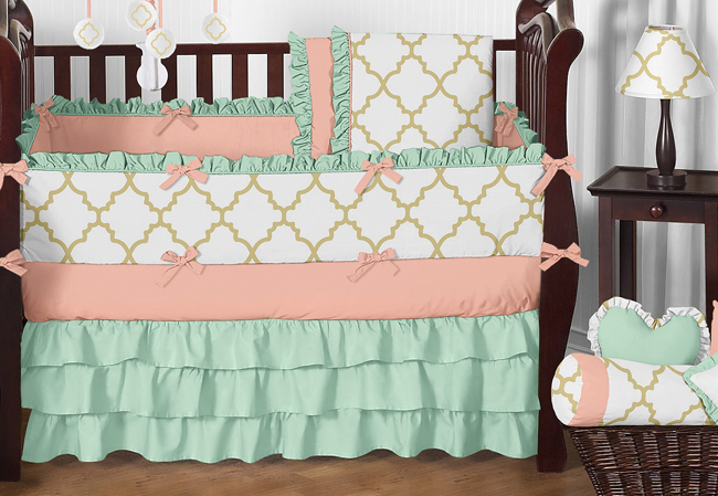 Gold, Mint, Coral and White Ava Baby Bedding - 9pc Girls Crib Set by Sweet Jojo Designs