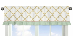 Trellis Window Valance for Gold, Mint, Coral and White Ava Collection