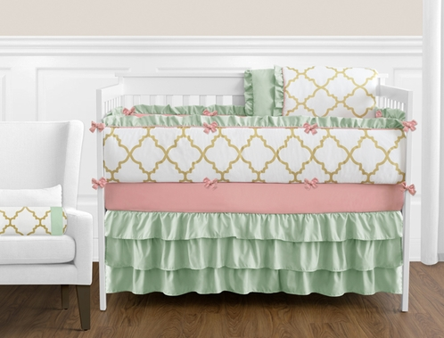 Gold, Mint, Coral and White Ava Baby Bedding - 9pc Girls Crib Set - Click to enlarge