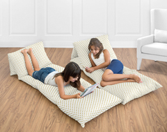 Gold Polka Dot Kids Teen Floor Pillow Case Lounger Cushion Cover for Amelia Collection