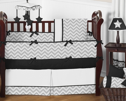 Gray and Black Chevron Zig Zag Baby Bedding - 9pc Crib Set by Sweet Jojo Designs - Click to enlarge