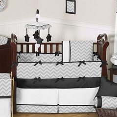 Gray and Black Chevron Zig Zag Baby Bedding - 9pc Crib Set by Sweet Jojo Designs