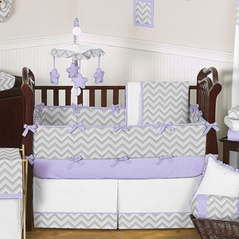 Gray and Lavender Zig Zag Baby Bedding - 9pc Crib Set by Sweet Jojo Designs