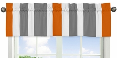 Gray and Orange Stripe�Collection Window Valance by Sweet Jojo Designs