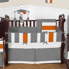 Gray and Orange Stripe Baby Bedding - 9pc Crib Set by Sweet Jojo Designs