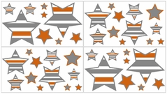 Gray and Orange Stripe, Childrens and Teens Wall Decal Stickers - Set of 4 Sheets