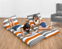 Gray and Orange Stripe Collection Kids Teen Floor Pillow Case Lounger Cushion Cover by Sweet Jojo Designs