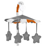 Gray and Orange Stripe Musical Baby Crib Mobile by Sweet Jojo Designs