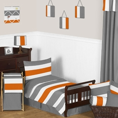 Gray and Orange Stripe Toddler Bedding - 5pc Set by Sweet Jojo Designs