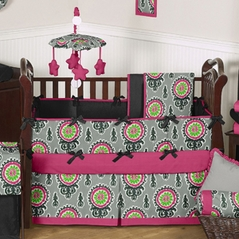 Gray and Pink Ikat Medallion Baby Bedding - 6 pc Crib Set