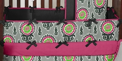 Gray and Pink Ikat Medallion Baby Crib Bumper Pad