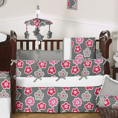 Gray and Pink Ikat Petals Baby Bedding - 6 pc Crib Set