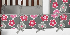 Gray and Pink Ikat Petals Baby Crib Bumper Pad