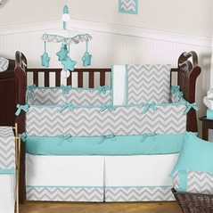 Gray and Turquoise Chevron Zig Zag Baby Bedding - 9 pc Crib Set by Sweet Jojo Designs