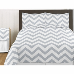 Gray and White Chevron 3pc Childrens and Teen Zig Zag Full / Queen Bedding Set Collection