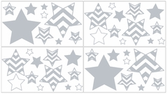 Gray and White Chevron Baby, Childrens and Kids Wall Decal Stickers - Set of 4 Sheets
