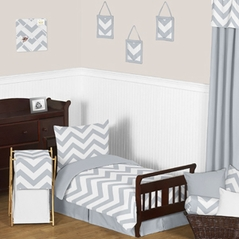 Gray and White Chevron Toddler Bedding - 5pc Set by Sweet Jojo Designs