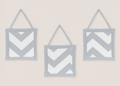 Gray and White Chevron Wall Hanging Accessories by Sweet Jojo Designs