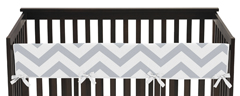 Gray and White Chevron Zig Zag Baby Crib Long Rail Guard Cover by Sweet Jojo Designs