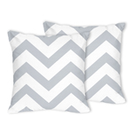 Gray and White Chevron Zig Zag Decorative Accent Throw Pillows - Set of 2