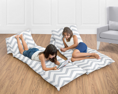 Gray and White Chevron Zig Zag Kids Teen Floor Pillow Case Lounger Cushion Cover by Sweet Jojo Designs