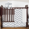 Gray and White Chevron ZigZag Baby Bedding - 4pc Crib Set by Sweet Jojo Designs