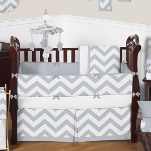 Gray and White Chevron ZigZag Baby Bedding - 9pc Crib Set...