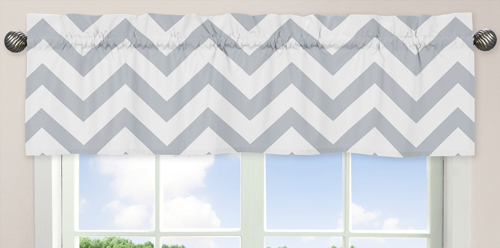 JoJo Designs Gray and White Chevron Collection Zig Zag Window Valance