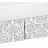 Gray and White Damask Crib Bed Skirt for Elizabeth, Skylar, and Avery Bedding Sets